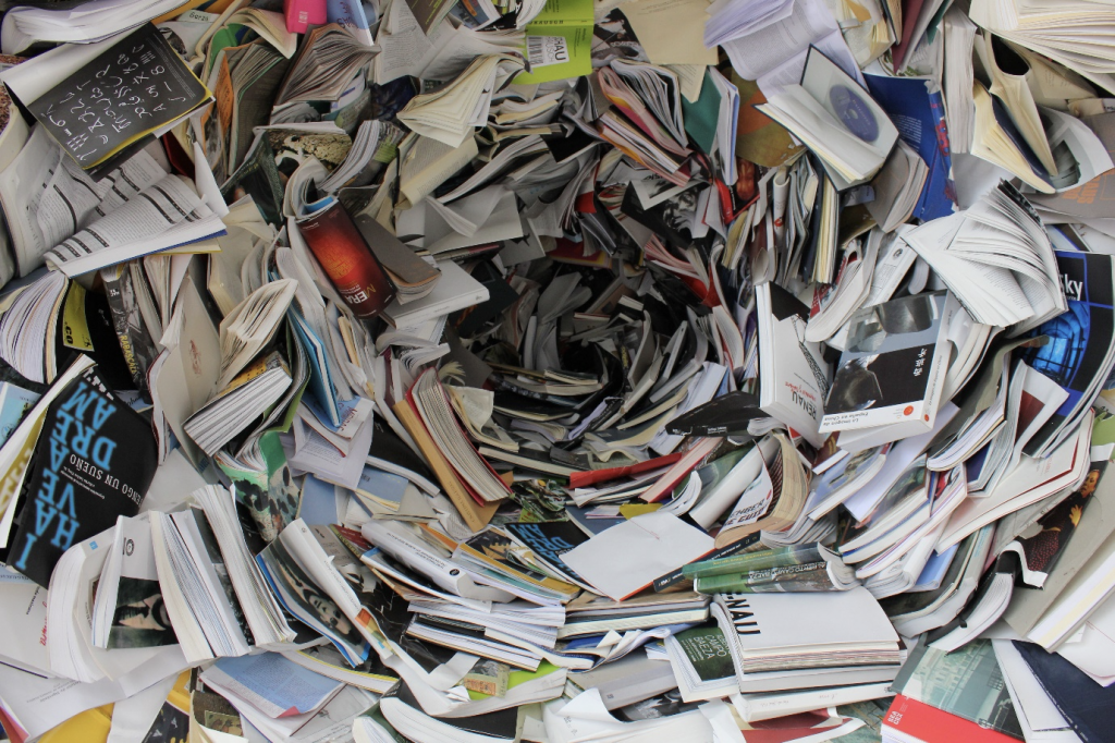 For recycle week - photo of hundreds of books cascading