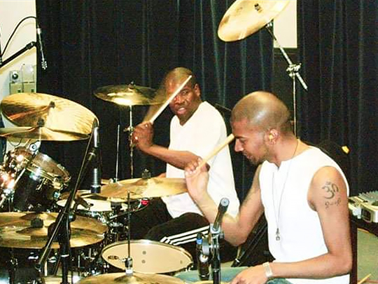 Magesh, pictured with session musician John Blackwell on tour (drummer for Prince / Justin Timberlake)
